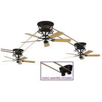 Fanimation FP580BL-18-S3 Bourbon Street Black with Oak/Walnut Blades Ceiling Fan, Motor Only