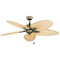 Windpointe 52 inch Antique Brass with Narrow Oval Natural Palm Blades Ceiling Fan in 110 Volts, FItter needs to be ordered also if getting glass F423