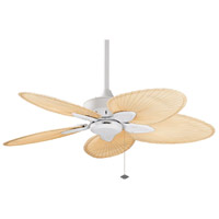 Windpointe 10 inch Matte White with Narrow Oval Natural Palm Blades Ceiling Fan in 110 Volts