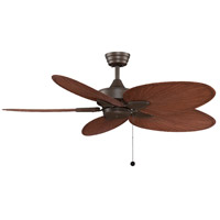 Windpointe 52 inch Oil-Rubbed Bronze with Composite Palm Brow/Red Blades Ceiling Fan in 110 Volts