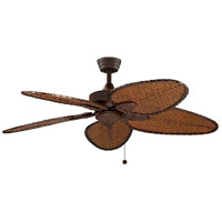 Windpointe 52 inch Rust with Narrow Oval Antique Bamboo Blades Ceiling Fan in 110 Volts