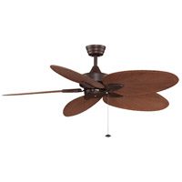 Windpointe 52 inch Rust with Composite Palm Brow/Red Blades Ceiling Fan in 110 Volts