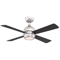 Fanimation FP7644BN Kwad 44 44 inch Brushed Nickel with Brushed Nickel/Black Blades Indoor/Outdoor Ceiling Fan