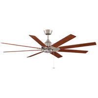 Levon 63 inch Brushed Nickel with Cherry/Walnut Blades Ceiling Fan in 110 Volts