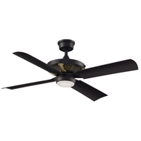 Fanimation FP7996BLBSW Pickett 52 inch Black Indoor/Outdoor Ceiling Fan in Black with Satin Brass Accents