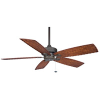 Cancun 9 inch Oil-Rubbed Bronze with Dark Brown/Red Tight Weave Blades Ceiling Fan
