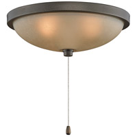 Signature 3 Light Halogen Aged Bronze Fan Light Kit in Amber Frosted