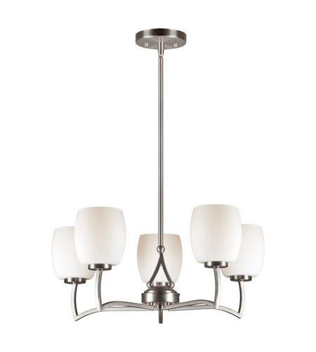 Forte Lighting 2588-05-55 Signature 5 Light 22 inch Brushed Nickel Chandelier Ceiling Light photo thumbnail