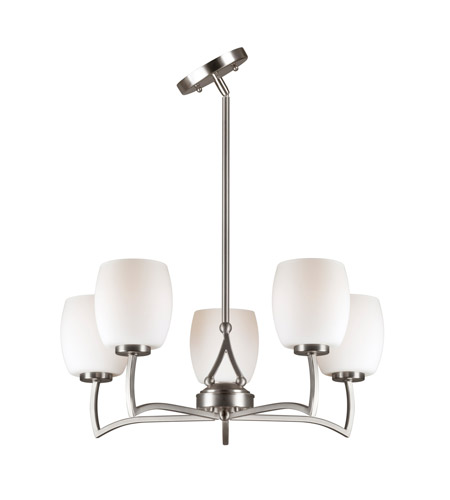 Forte Lighting 2588-05-55 Signature 5 Light 22 inch Brushed Nickel Chandelier Ceiling Light alternative photo thumbnail