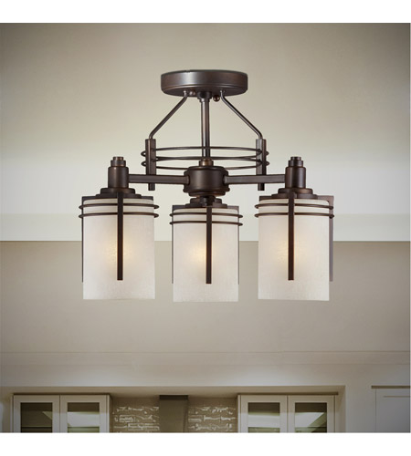 Forte Lighting 2692-03-32 Signature 3 Light 13 inch Antique Bronze Semi Flush Mount Ceiling Light alternative photo thumbnail