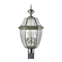 Forte Lighting 1604-03-34 Signature 3 Light 24 inch Antique Pewter Outdoor Post Light