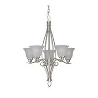 Forte Lighting 2100-05-55 Signature 5 Light 23 inch Brushed Nickel Chandelier Ceiling Light