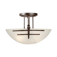 Signature 2 Light 15 inch Antique Bronze Semi Flush Mount Ceiling Light