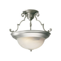 Forte Lighting 2298-02-55 Signature 2 Light 15 inch Brushed Nickel Semi Flush Mount Ceiling Light