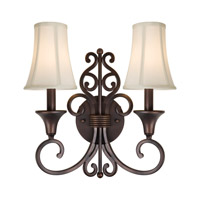 Forte Lighting 2327-02-32 Signature 2 Light 14 inch Antique Bronze Wall Sconce Wall Light