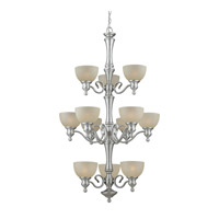 Forte Lighting 2341-12-55 Signature 12 Light 30 inch Brushed Nickel Chandelier Ceiling Light