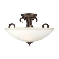 Signature 3 Light 16 inch Antique Bronze Semi Flush Mount Ceiling Light