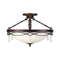 Signature 3 Light 18 inch Antique Bronze Semi Flush Mount Ceiling Light