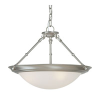 Forte Lighting 2515-03-55 Signature 3 Light 18 inch Brushed Nickel Bowl Pendant Ceiling Light