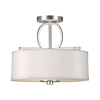 Signature 3 Light 14 inch Brushed Nickel Semi Flush Mount Ceiling Light