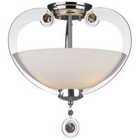 Forte Lighting 2580-03-05 Signature 3 Light 15 inch Chrome Semi Flush Mount Ceiling Light