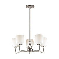 Forte Lighting 2588-05-55 Signature 5 Light 22 inch Brushed Nickel Chandelier Ceiling Light