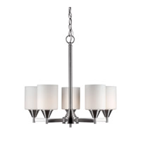 Forte Lighting 2643-05-55 Signature 5 Light 21 inch Brushed Nickel Chandelier Ceiling Light