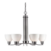 Forte Lighting 2644-06-55 Signature 6 Light 28 inch Brushed Nickel Chandelier Ceiling Light