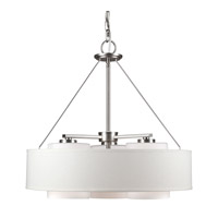 Forte Lighting 2657-03-55 Signature 3 Light 20 inch Brushed Nickel Drum Pendant Ceiling Light