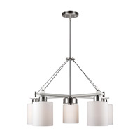 Forte Lighting 2666-05-55 Signature 5 Light 25 inch Brushed Nickel Chandelier Ceiling Light