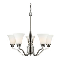 Forte Lighting 2690-05-55 Signature 5 Light 27 inch Brushed Nickel Chandelier Ceiling Light