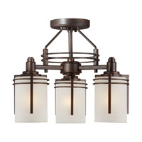 Signature 3 Light 13 inch Antique Bronze Semi Flush Mount Ceiling Light