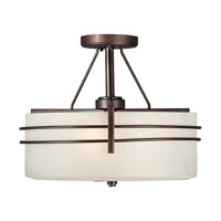 Forte Lighting 2693-03-32 Signature 3 Light 16 inch Antique Bronze Semi Flush Mount Ceiling Light