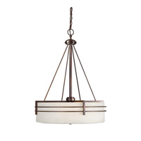 Forte Lighting 2693-04-32 Signature 4 Light 21 inch Antique Bronze Drum Pendant Ceiling Light