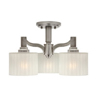 Signature 3 Light 15 inch Brushed Nickel Semi Flush Mount Ceiling Light