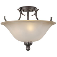 Forte Lighting 2929-03-27 Signature 3 Light 16 inch Black Cherry Semi Flush Mount Ceiling Light