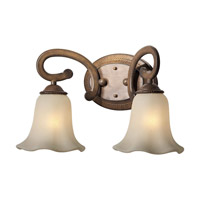 Forte Lighting 5387-02-41 Signature 2 Light 17 inch Rustic Sienna Vanity Light Wall Light