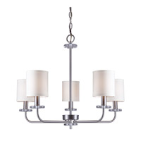 Forte Lighting 7070-05-55 Signature 5 Light 27 inch Brushed Nickel Chandelier Ceiling Light