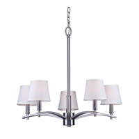 Forte Lighting 7078-05-55 Signature 5 Light 25 inch Brushed Nickel Chandelier Ceiling Light