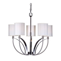 Forte Lighting 7089-05-55 Signature 5 Light 24 inch Brushed Nickel Chandelier Ceiling Light