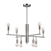 Forte Lighting 7091-08-55 Signature 8 Light 28 inch Brushed Nickel Chandelier Ceiling Light