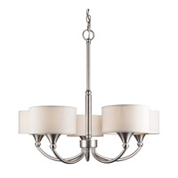 Forte Lighting 7092-05-55 Signature 5 Light 25 inch Brushed Nickel Chandelier Ceiling Light