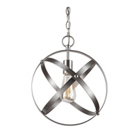 Forte Lighting 7094-01-55 Signature 1 Light 12 inch Brushed Nickel Mini Pendant Ceiling Light