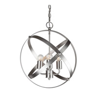 Forte Lighting 7094-04-55 Signature 4 Light 16 inch Brushed Nickel Globe Pendant Ceiling Light