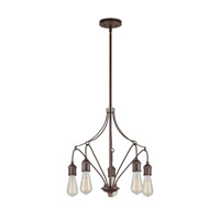 Forte Lighting 7098-05-32 Signature 5 Light 18 inch Antique Bronze Chandelier Ceiling Light