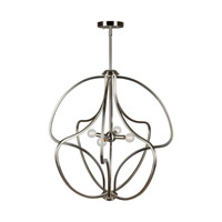 Forte Lighting 7100-04-55 Signature 4 Light 26 inch Brushed Nickel Foyer Pendant Ceiling Light