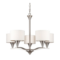 Forte Lighting 7102-05-55 Signature 5 Light 28 inch Brushed Nickel Chandelier Ceiling Light