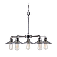 Forte Lighting 7159-05-69 Signature 5 Light 27 inch Vintage Chrome Chandelier Ceiling Light