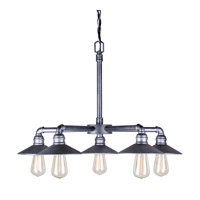 Forte Lighting 7159-05-49 Signature 5 Light 27 inch Industrial Gray Chandelier Ceiling Light