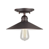 Forte Lighting 7259-01-32 Signature 1 Light 10 inch Antique Bronze Semi Flush Mount Ceiling Light